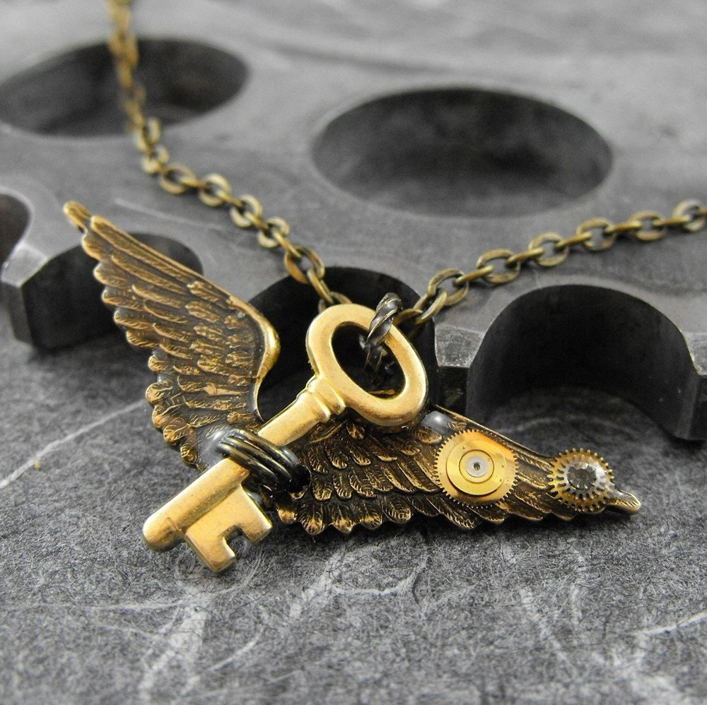 Golden Key to the Flight of Dreams Artful Hardware Pendant