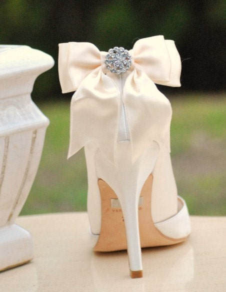 Ivory Sparkly Bride Bridal Shoe clips Summer Bride Special Day Stylish Chic Couture Custom Color Blue Black Pink Red Sage White Beige