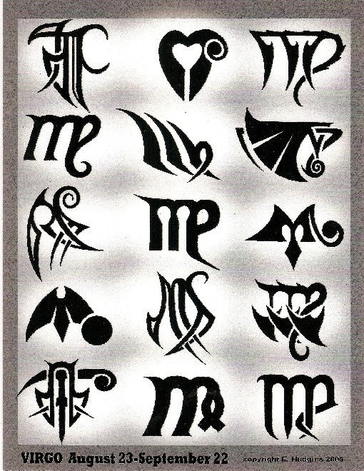 Virgo Zodiac Tattoo Designs. From Hudgins