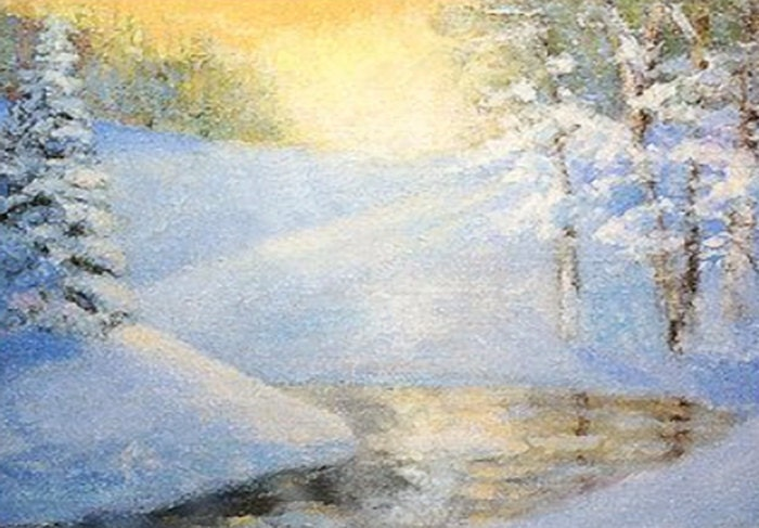 Morning Snow Scene, Fine Art Print of My Original Acrylic Painting - bobmierfineart