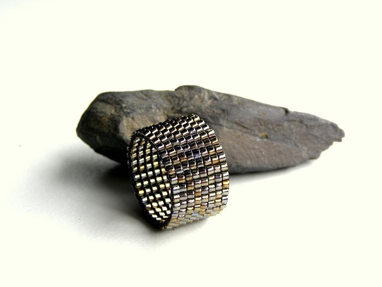 Happy Rings, Christmas Gift For Men, Ring In Metallic Steel-Bronze, Handbeaded Ring For Guys, Jewelry For Men