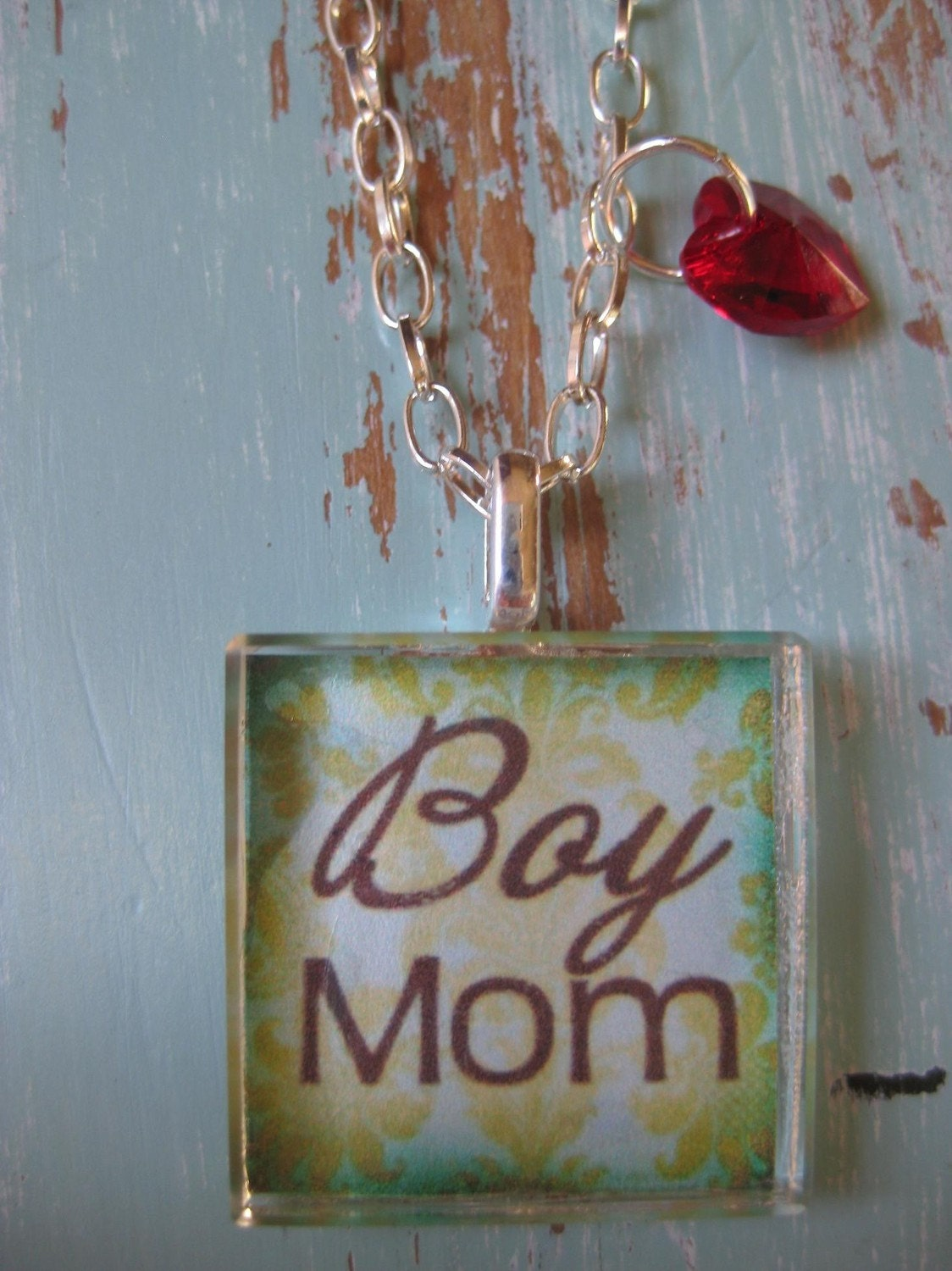 SALE - Boy Mom Necklace - FREE SHIPPING - Cut Crystal Glass Pendant - Aqua and Brown - Red Crystal Heart Toggle - Vintage - Chic and Unique by TakeFlightBoutique on Etsy