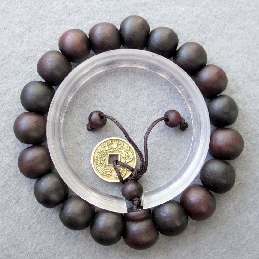 11mm Feng-Shui Coin With Tibetan Buddhist Wood Prayer Beads Mala Rosary Bracelet  T2475 - 8giftshop