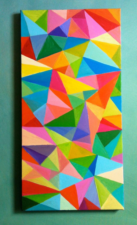 Peinture abstraite triangles de couleur acrylique par for Abstraction geometrique peinture