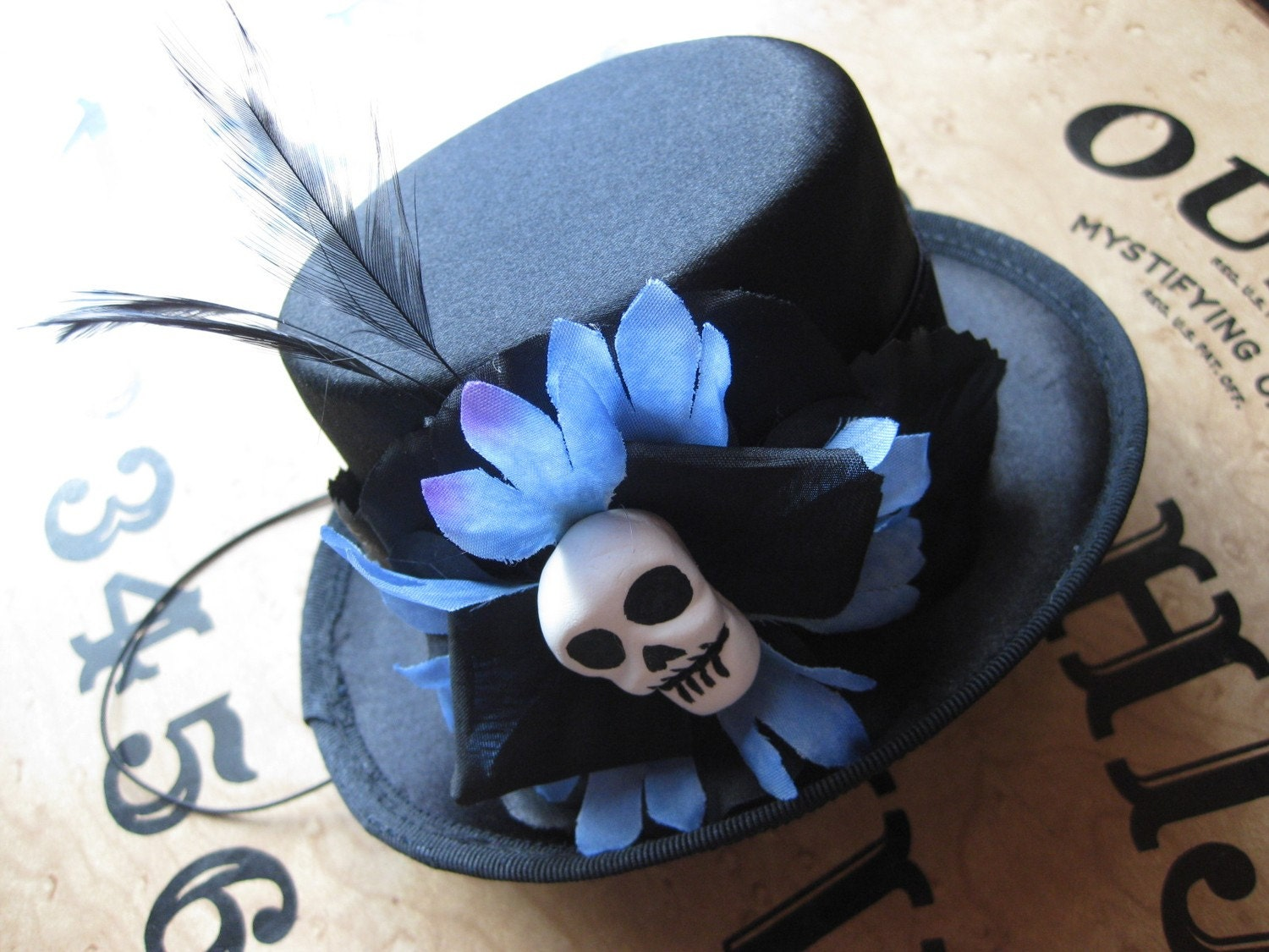 Blue and Black Skull Mini Top Hat
