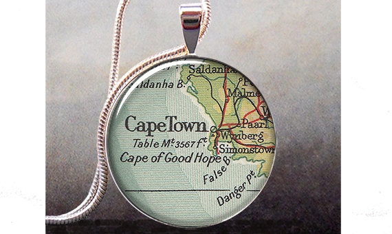 Cape Town map pendant charm, South Africa map necklace charm, Cape Town map jewelry