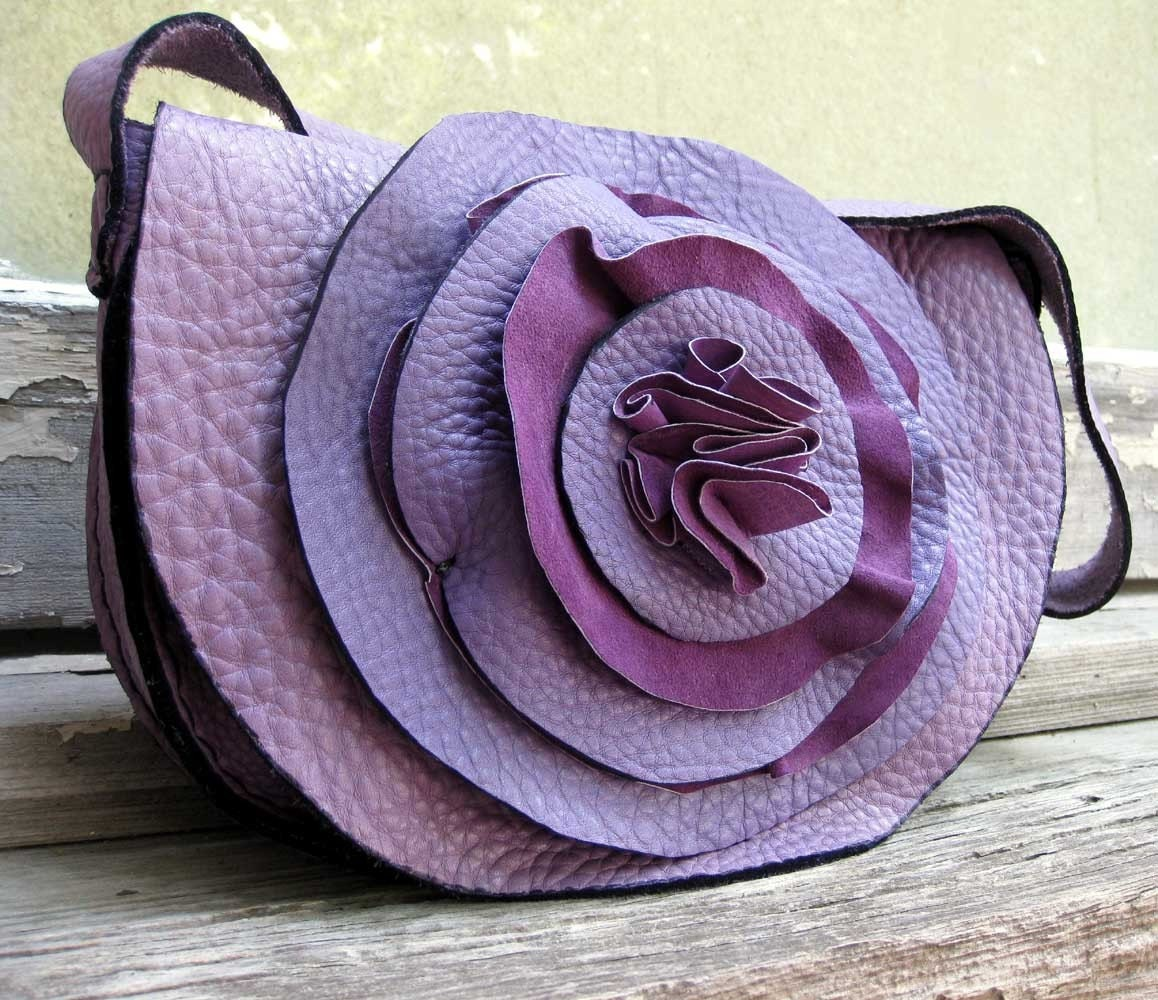 Lavender Ruffle Rose Petal Bag in Heavy Cowhide Leather by Stacy Leigh Ready to Ship