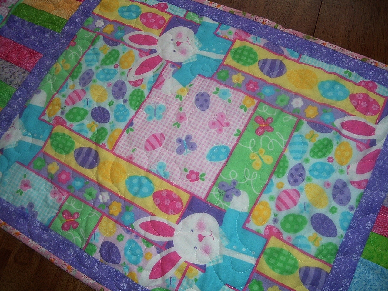 quilted easter bunny table runner 16 x 34 inches by. Black Bedroom Furniture Sets. Home Design Ideas