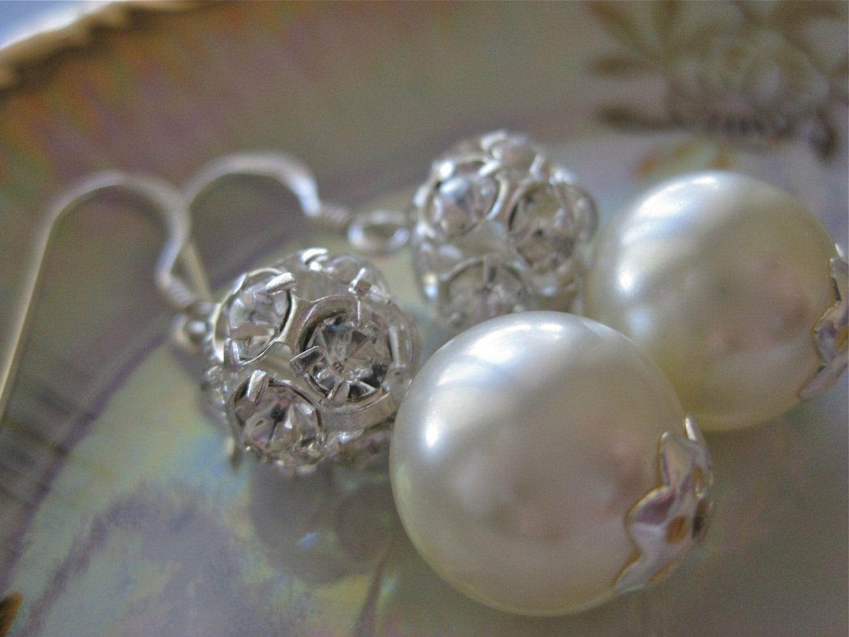 Cream  Swarovski Pearl and Rhinestone Ball Earrings