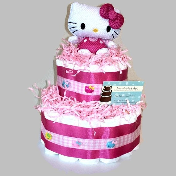 hello kitty diaper cake baby shower gift by atwoodeclectics