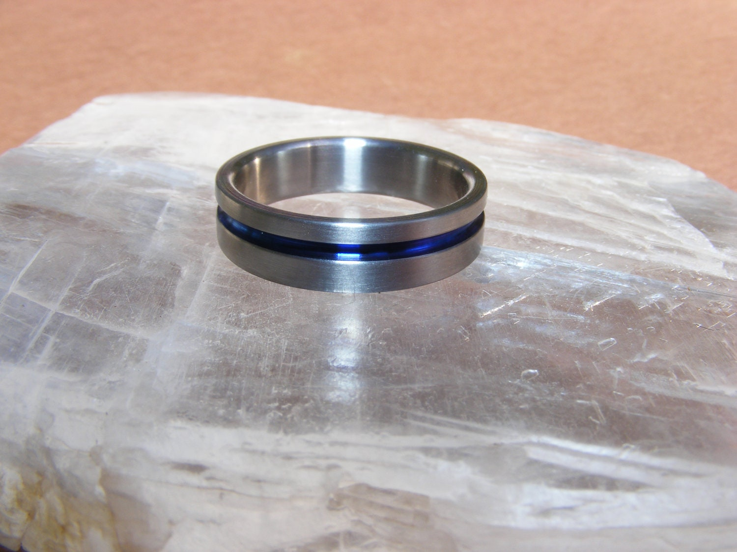 Titanium Thin blue line Ring Wedding Band by customringdesigns