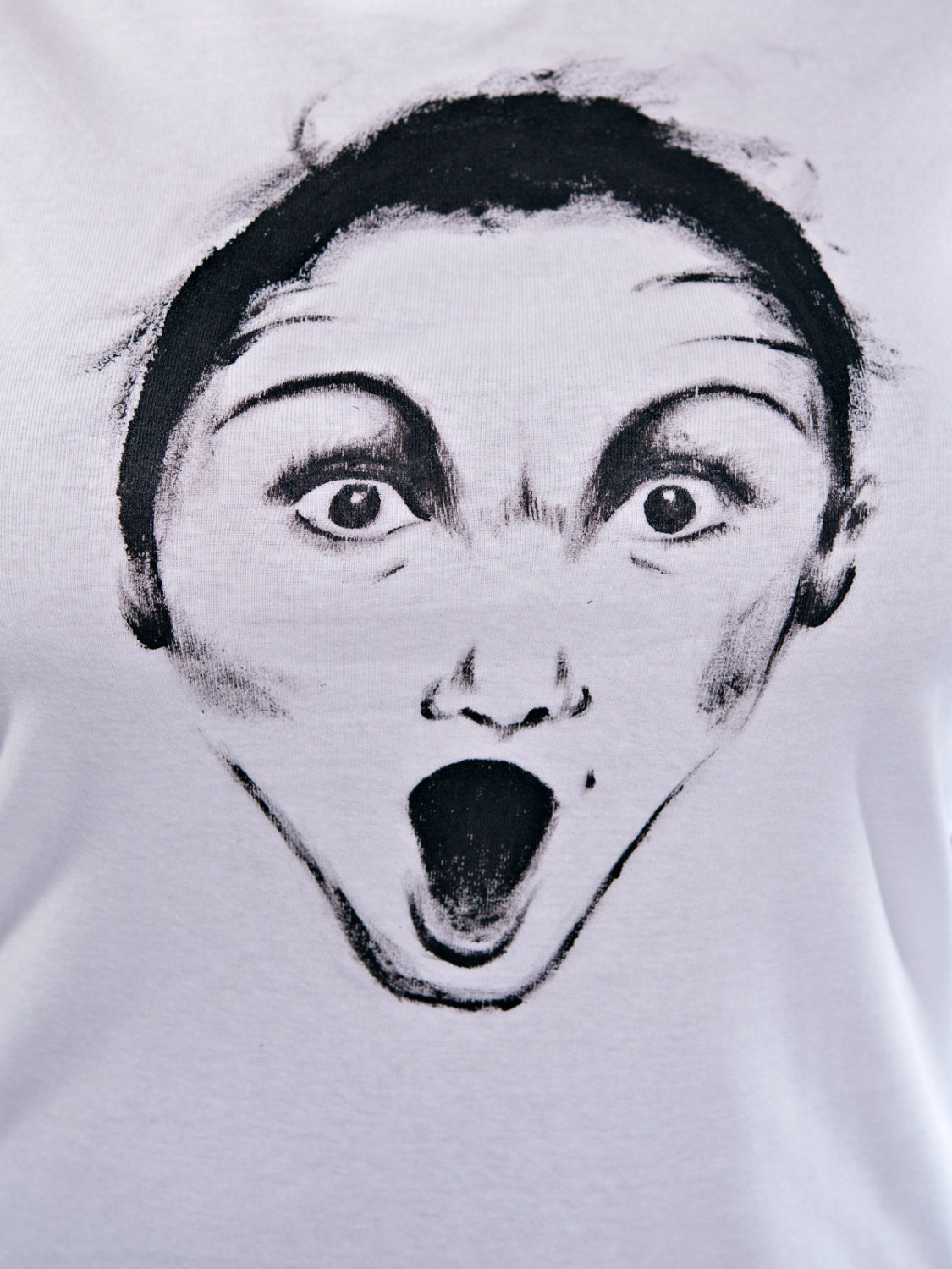 Hand painted Amazed face Woman basic T-shirt