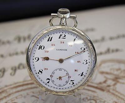 Beautiful Antique Solid Silver Lindor Pocket Watch