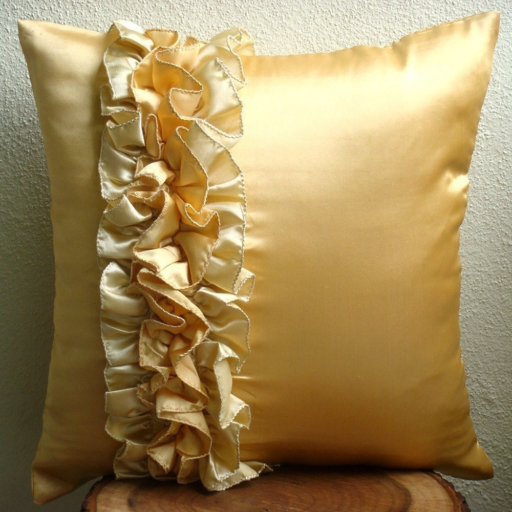 Vintage Honey - Throw Pillow Covers - 16x16 Inches Satin Pillow Cover with Ruffles