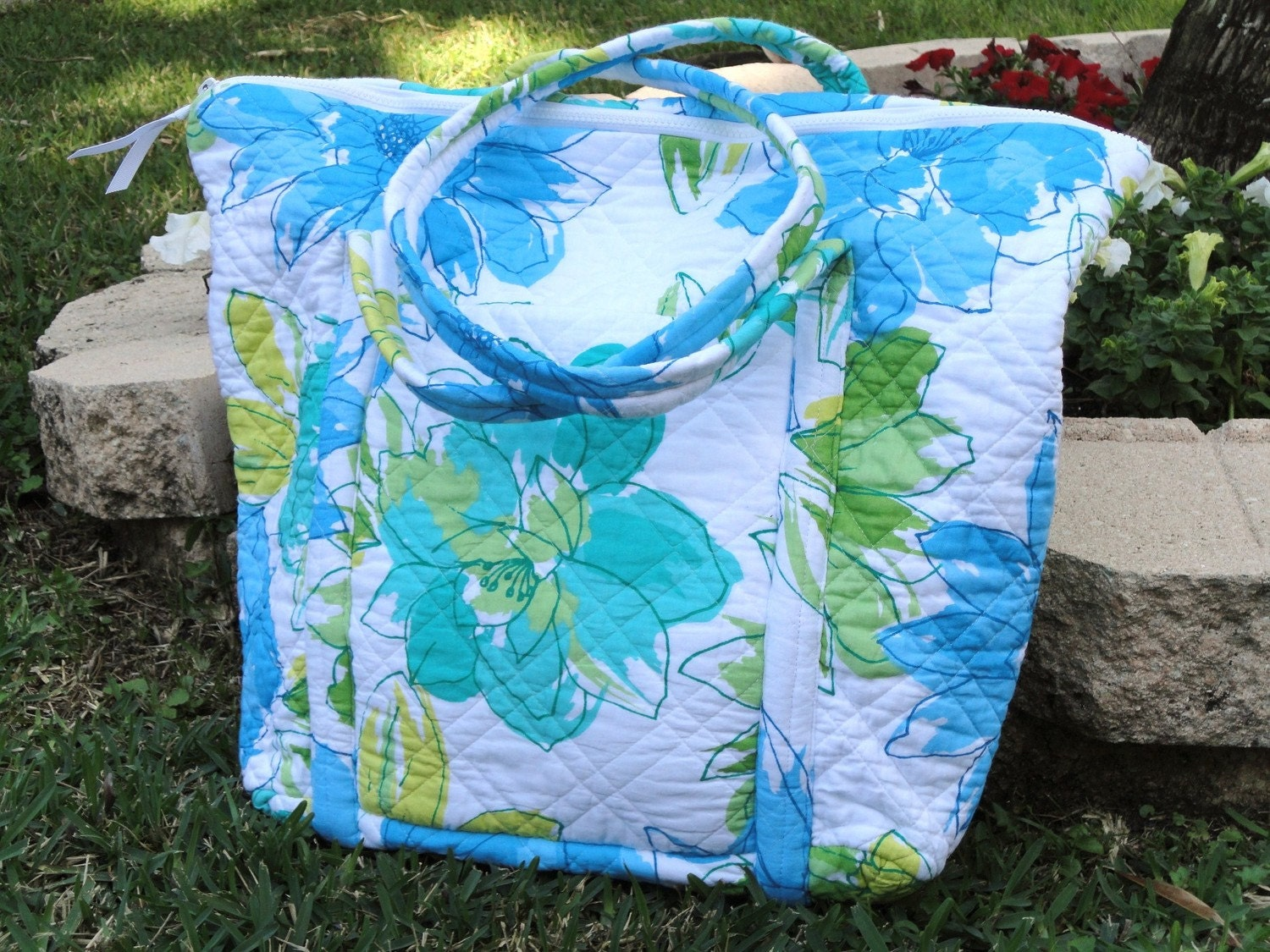 Quilted Overnight Travel Bag - Large Pastel Florals 21
