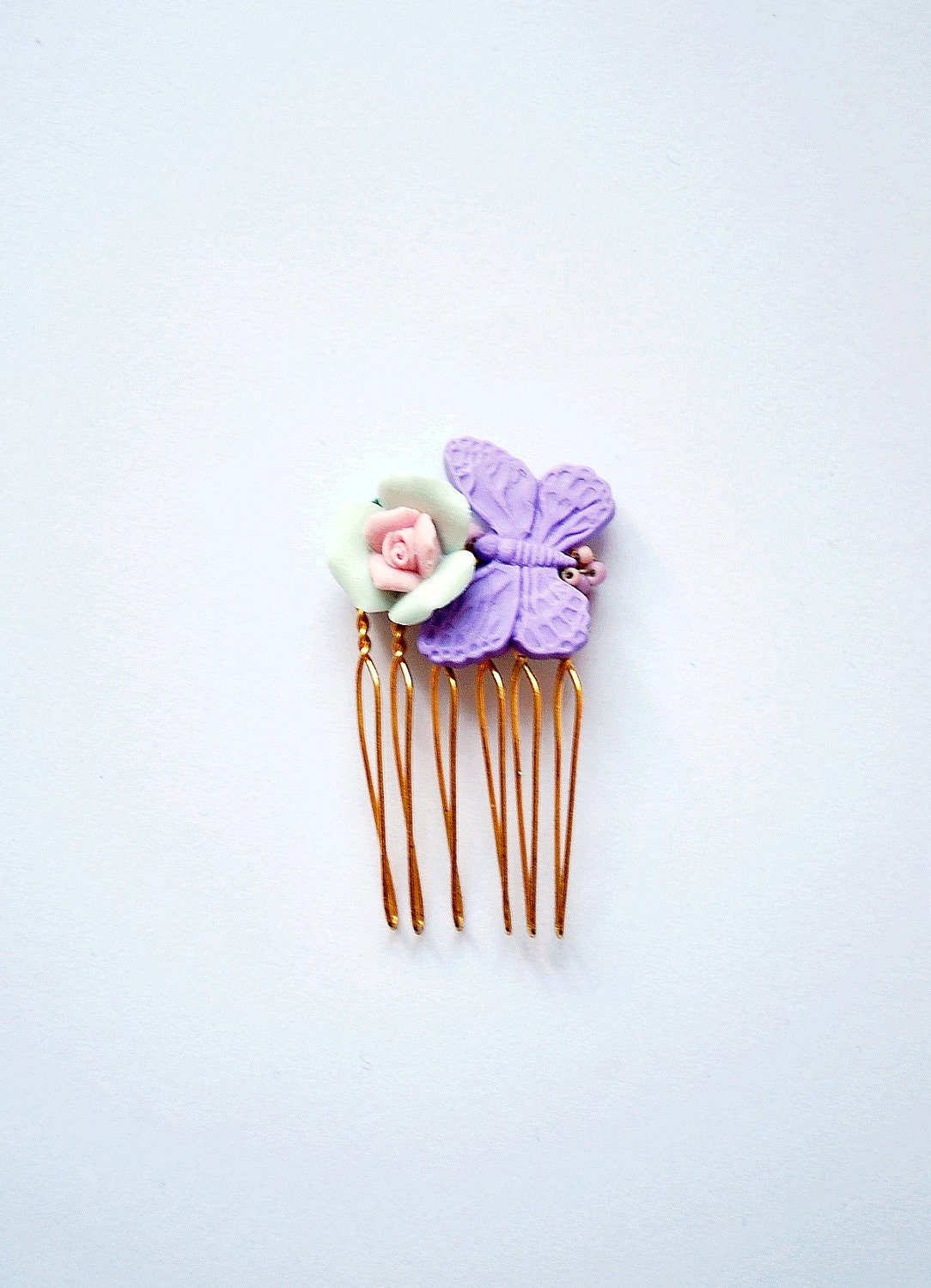 Little hair comb with a pastel rose and a butterfly - a romantic hair adornment piece in mint, pastel rose and lavender, a graceful detail - missbabacilu