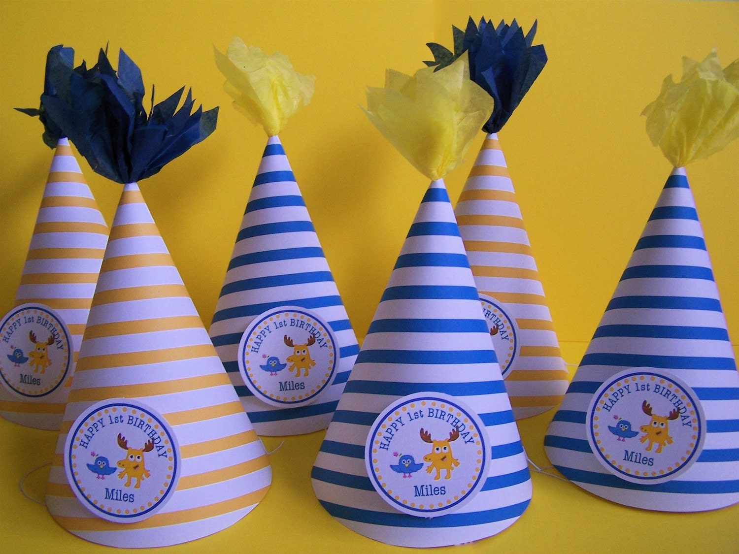 Blue/white and Yellow/white stripe- Moose and Zee party hats