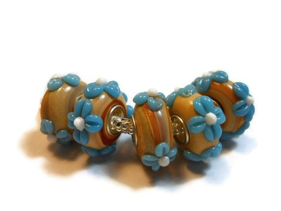Bead European Style - Murano Glass Tan with Blue Flowers - KellsBellsandBeads