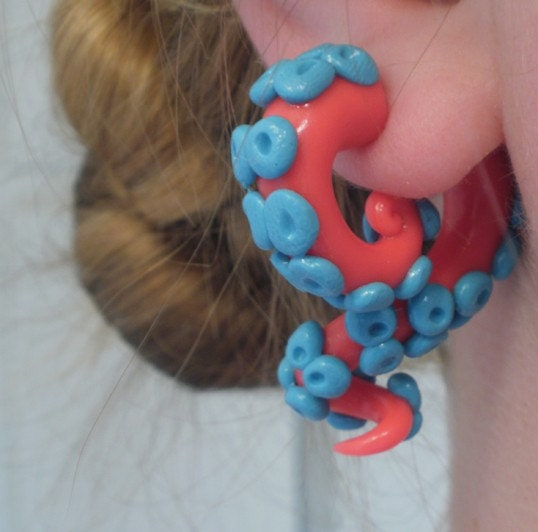 Coral Cephalopod Tentacle Earring