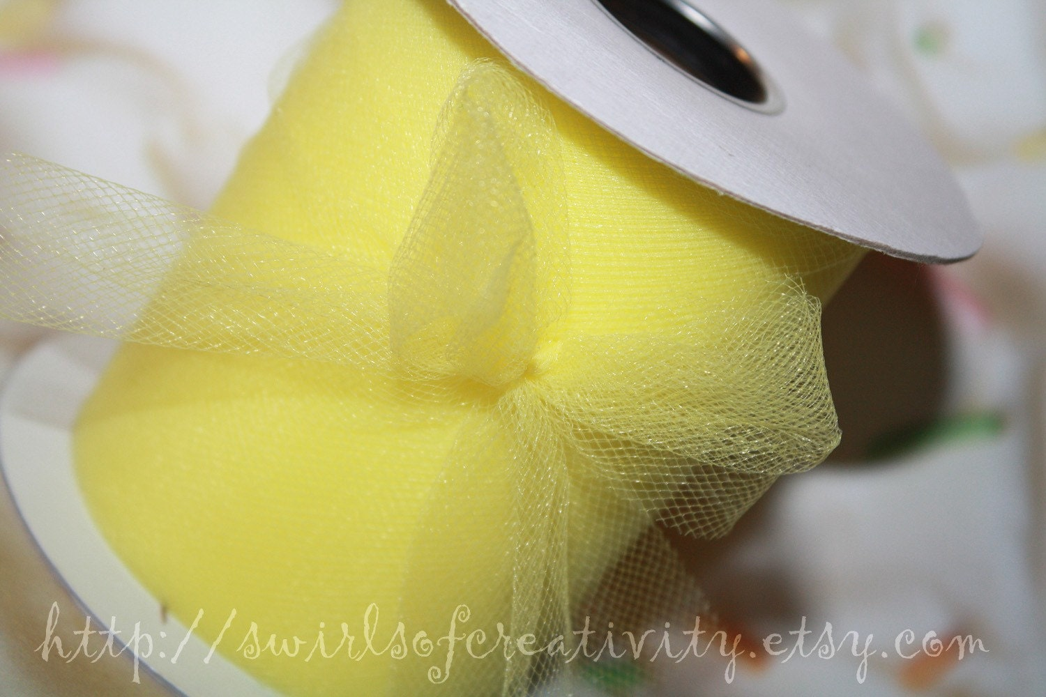 Mini Sunshine Yellow Spool New Tulle Ribbon Roll United States Made Flame Retardant USA High Quality 3 Inch x 25 Yards Lead Smoke Pet Free - SwirlsofCreativity