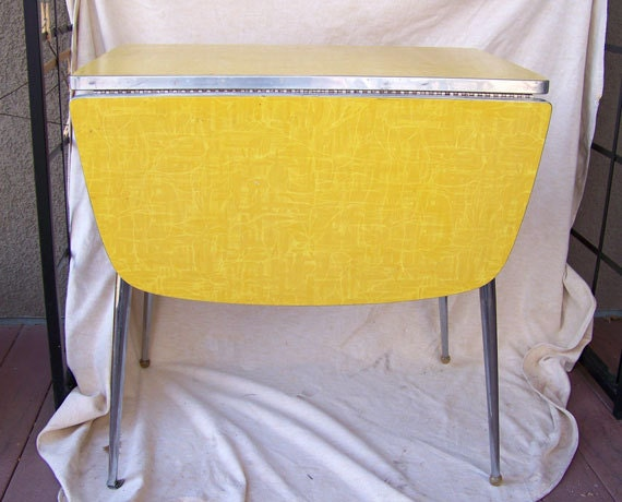Retro Dinette Table Yellow Modernist Drop By AntiqueAddictions