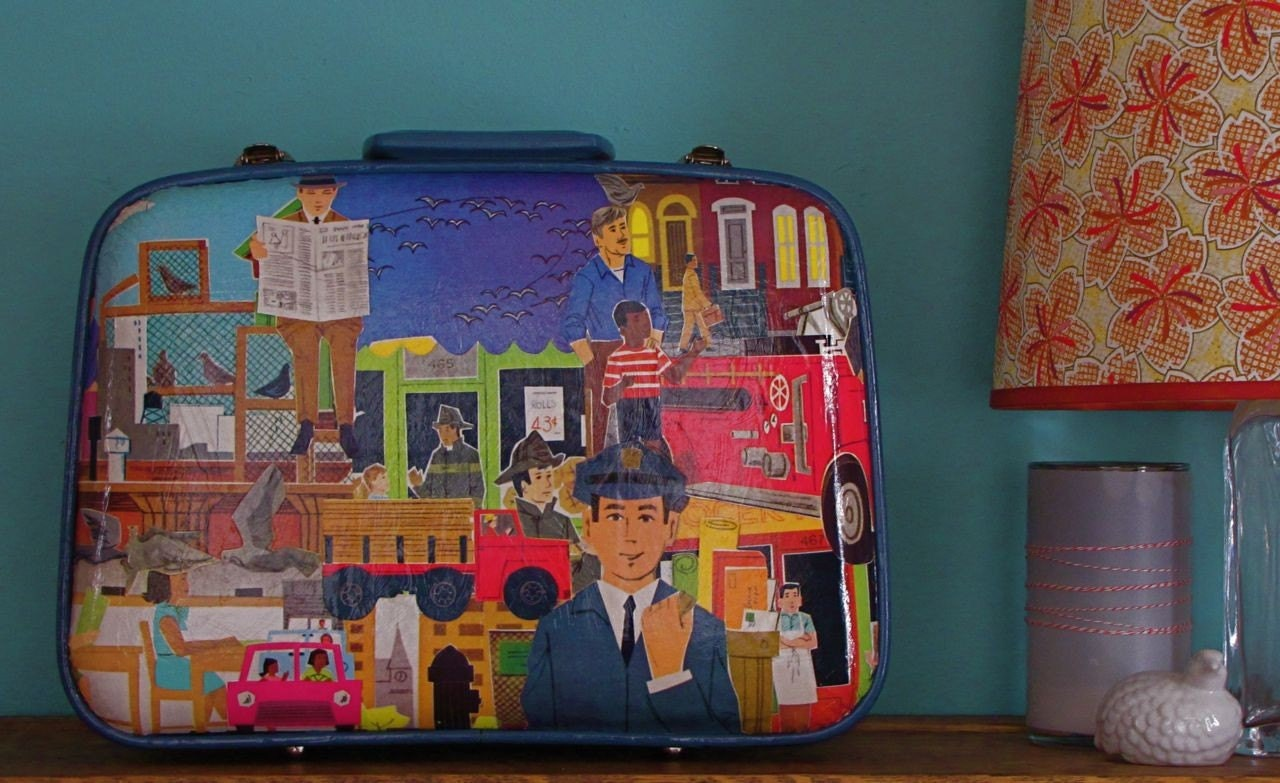 adorable decoupaged suitcase by Pixiegenne