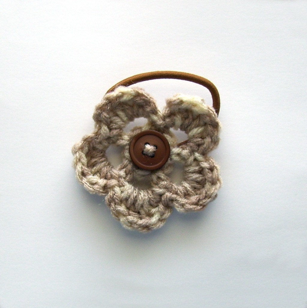 Button Flower Ponytail Holder