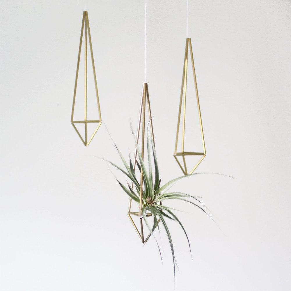 Brass himmeli prism no 1 hanging modern mobile for Air plant planters