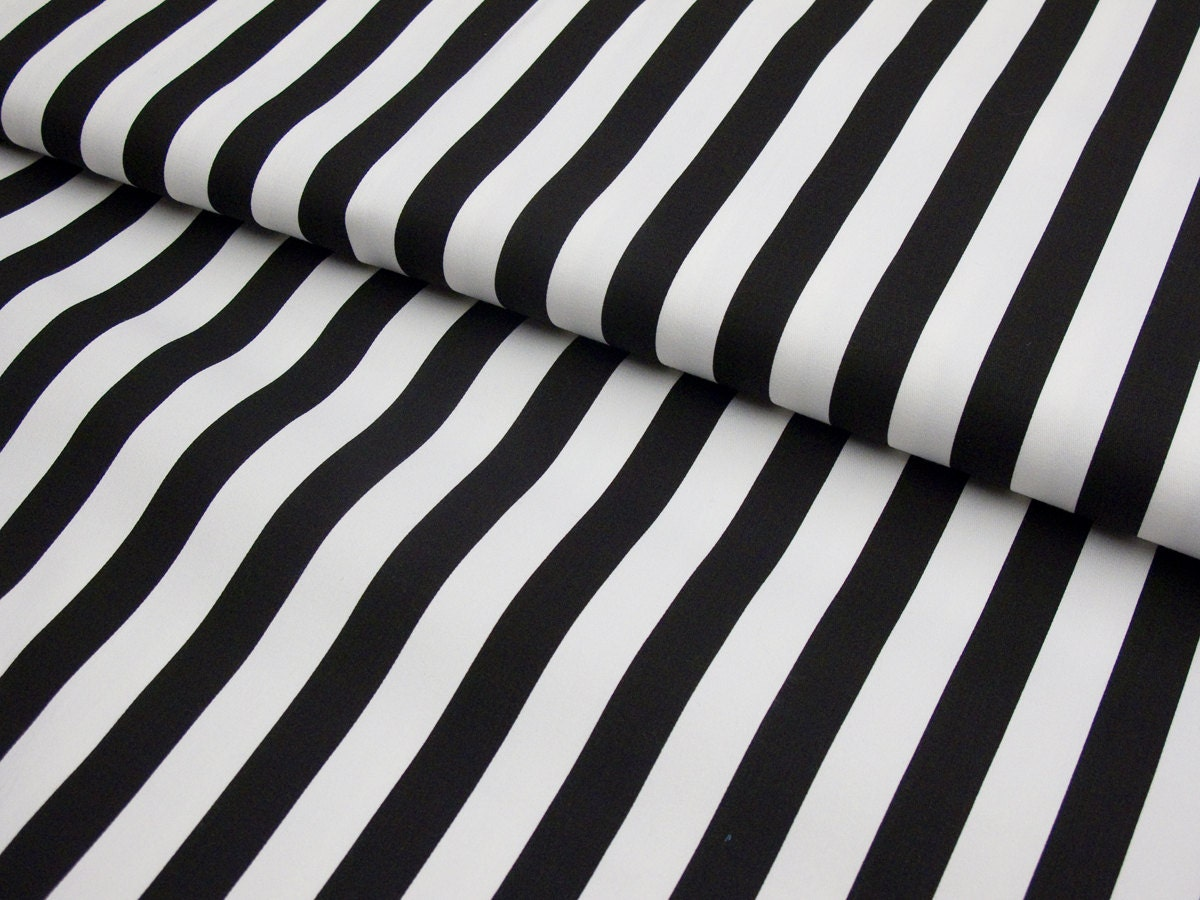 Black And White Striped Stretch Twill Fabric By