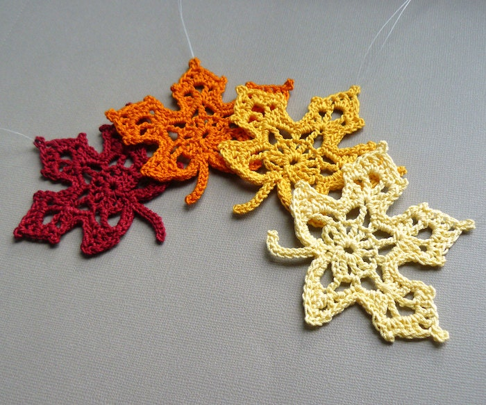 4 Crochet Maple Leaf Ornaments -- Multicolored Autumn Leaves