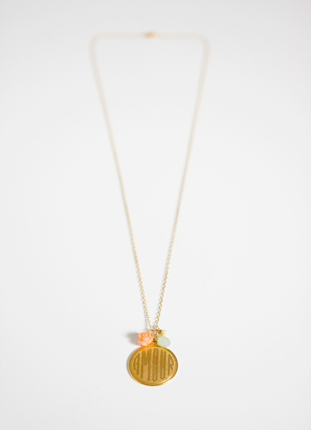 large amour long gold necklace