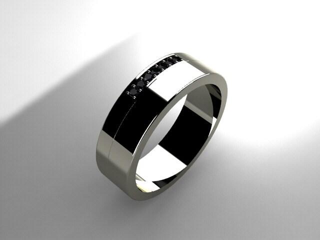 Black Diamond Ring Men Wedding Band Palladium By TorkkeliJewellery