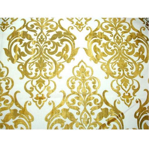 Ivory Jute Gold Printed Damask Ivory Burlap Jute By Fabricmart