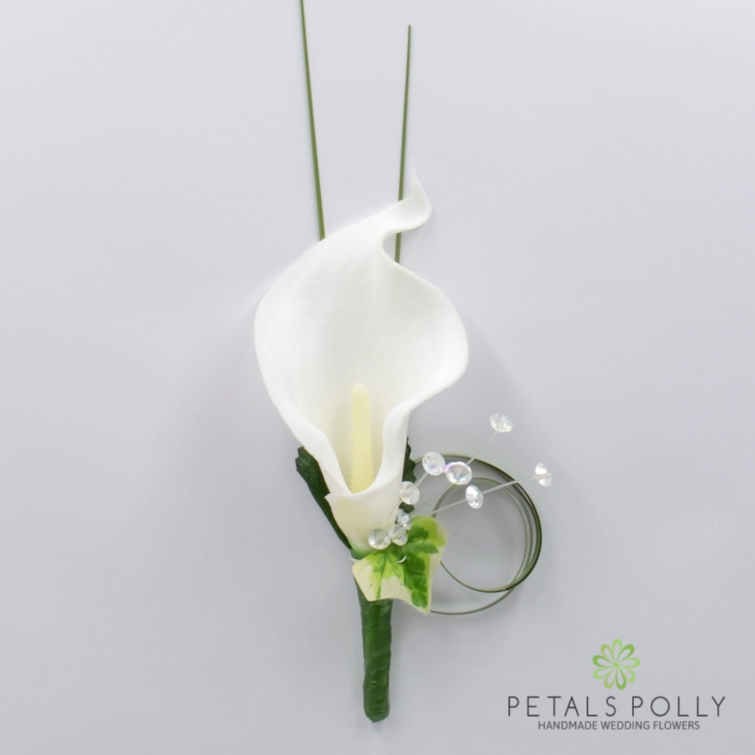 Artificial Wedding Flowers White Calla Lily Buttonhole