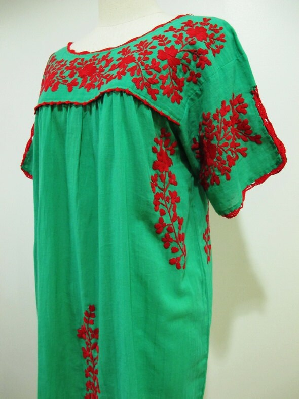 Mexican embroidered dress crochet split sleeves tunic by