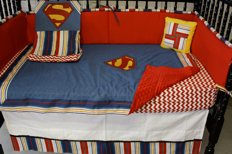5 Superman Stripe Baby Bedding Set- Free Personalized Pillow