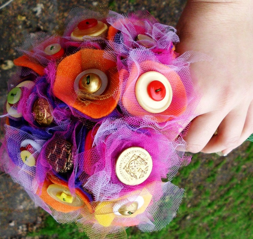 Royal Gold Vintage Fabric Flower Button Bouquet or Floral Arrangement Bridal Wedding Felt Tulle Buttons