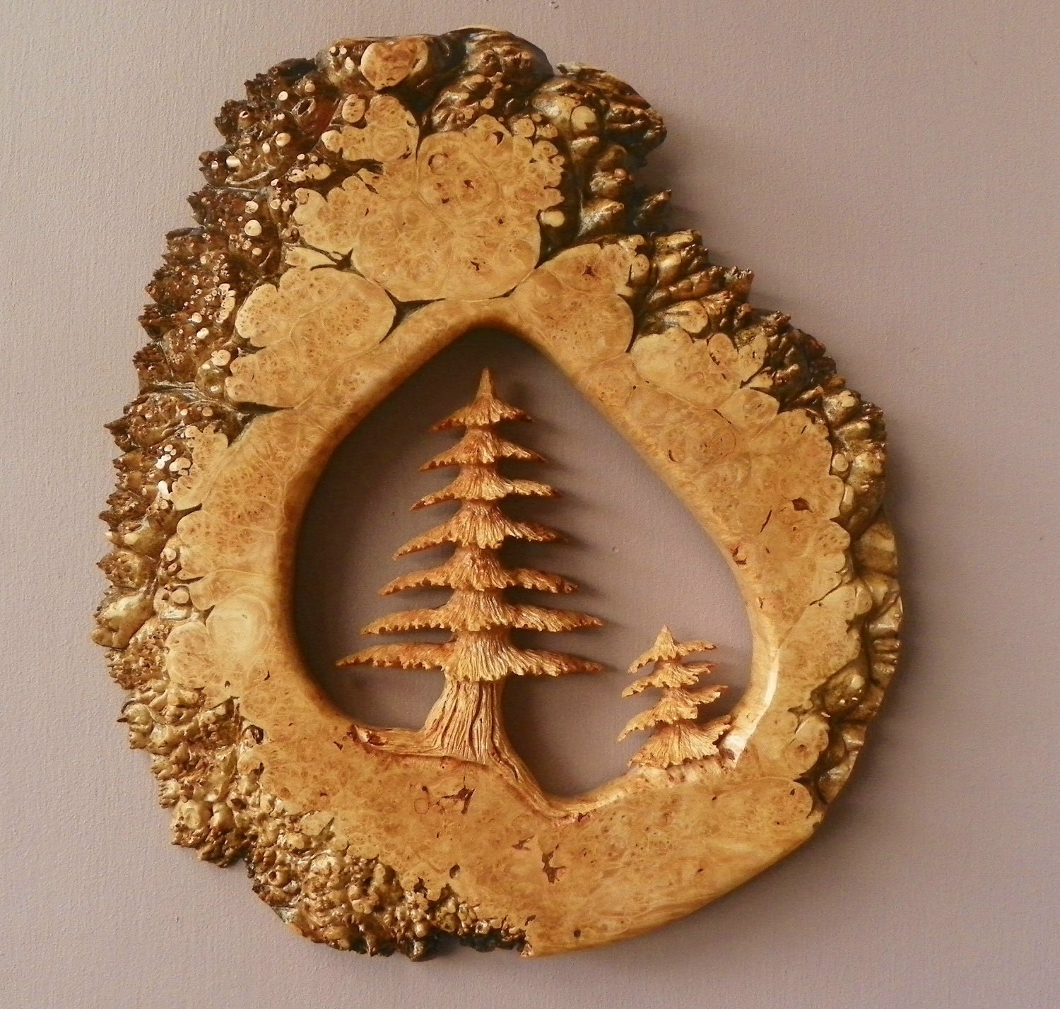 Beautiful hand carved maple burl with two evergreen by garphy