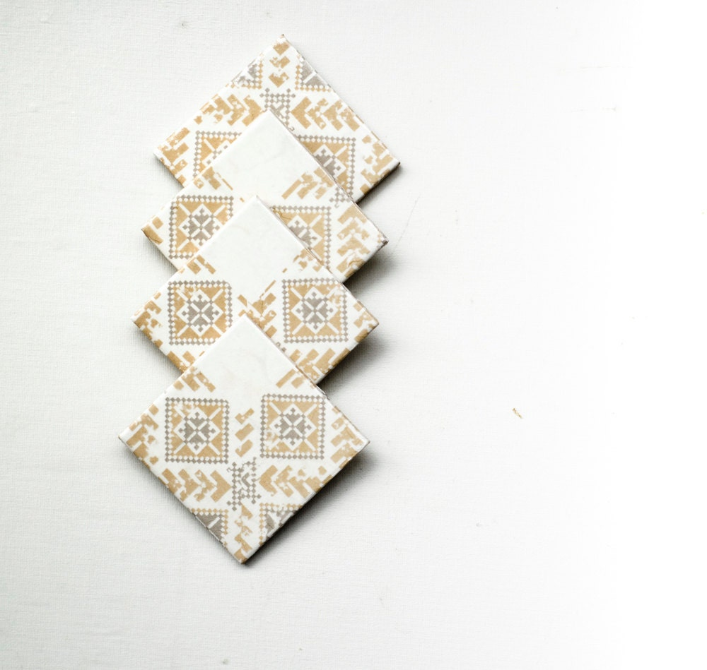 Ceramic Coasters, Tribal Pattern, set of 4 - mayagencic
