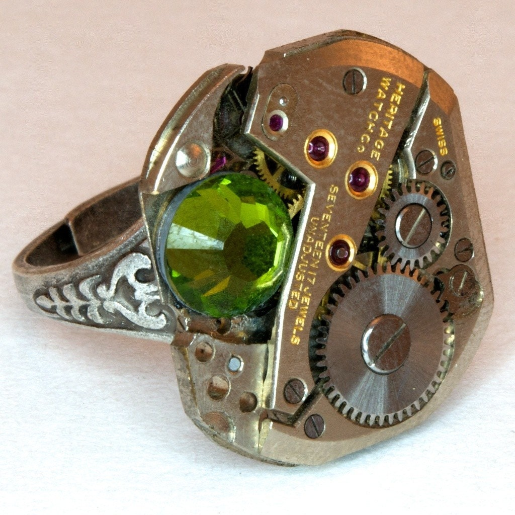 SALE - Steampunk Oak Leaf Ring Watch Movement Industrial Ring with Swarovski Crystal - Free Gift Bag
