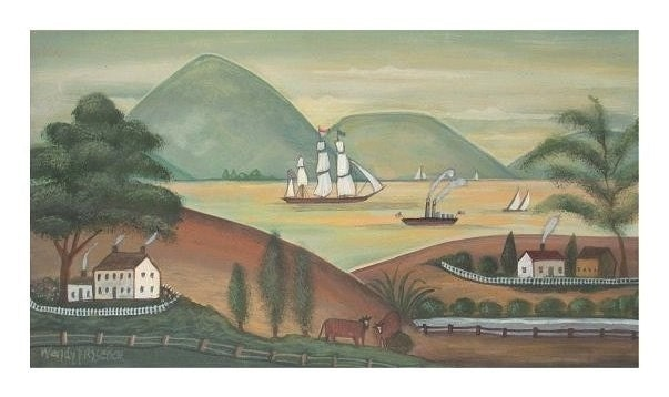 ANTIQUE RIVER FOLK ART LANDSCAPE Signed Americana Art Print SAILBOATS COWS Primitive Poster