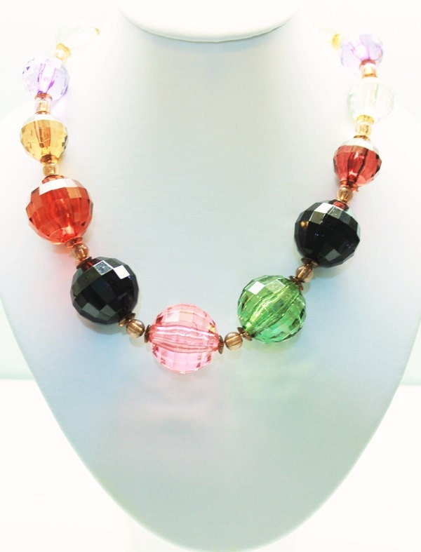 Vintage Colorful chunky statement necklace