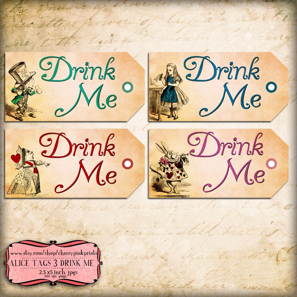 Alice tags drink me set 3 alice in wonderland by for Alice in wonderland tags template