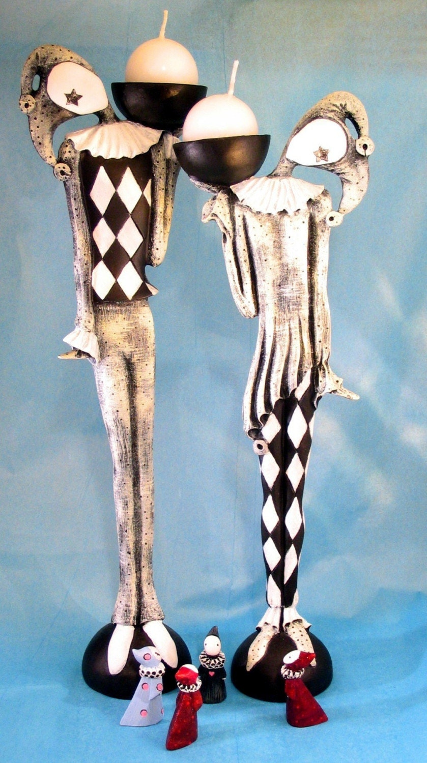 Harlequin  Candlestick Pair   Black and White