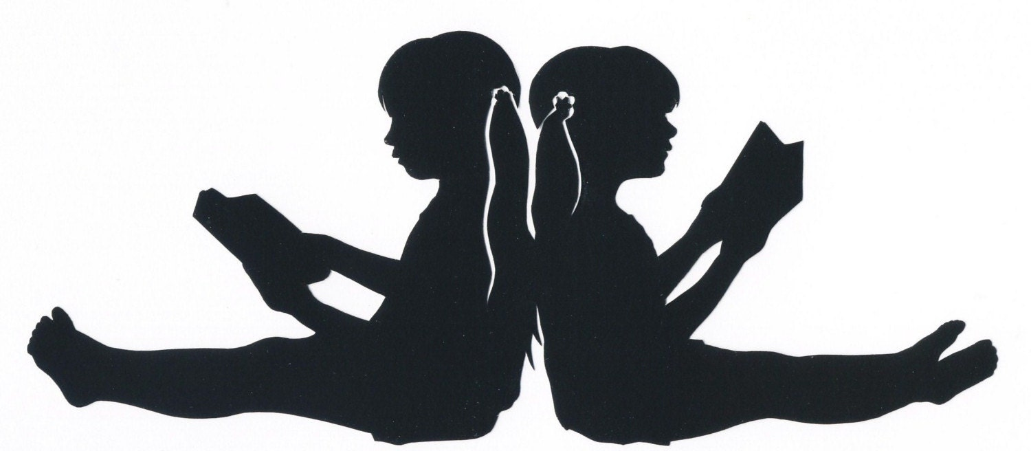 Items similar to Custom Silhouette of two children reading back to ... Children Reading Silhouette