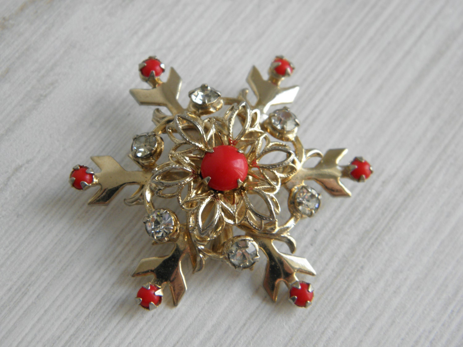 Snowflake Christmas Brooch Rhinestone Red Pin Vintage Black Friday Cyber Monday - VisualizingVintage