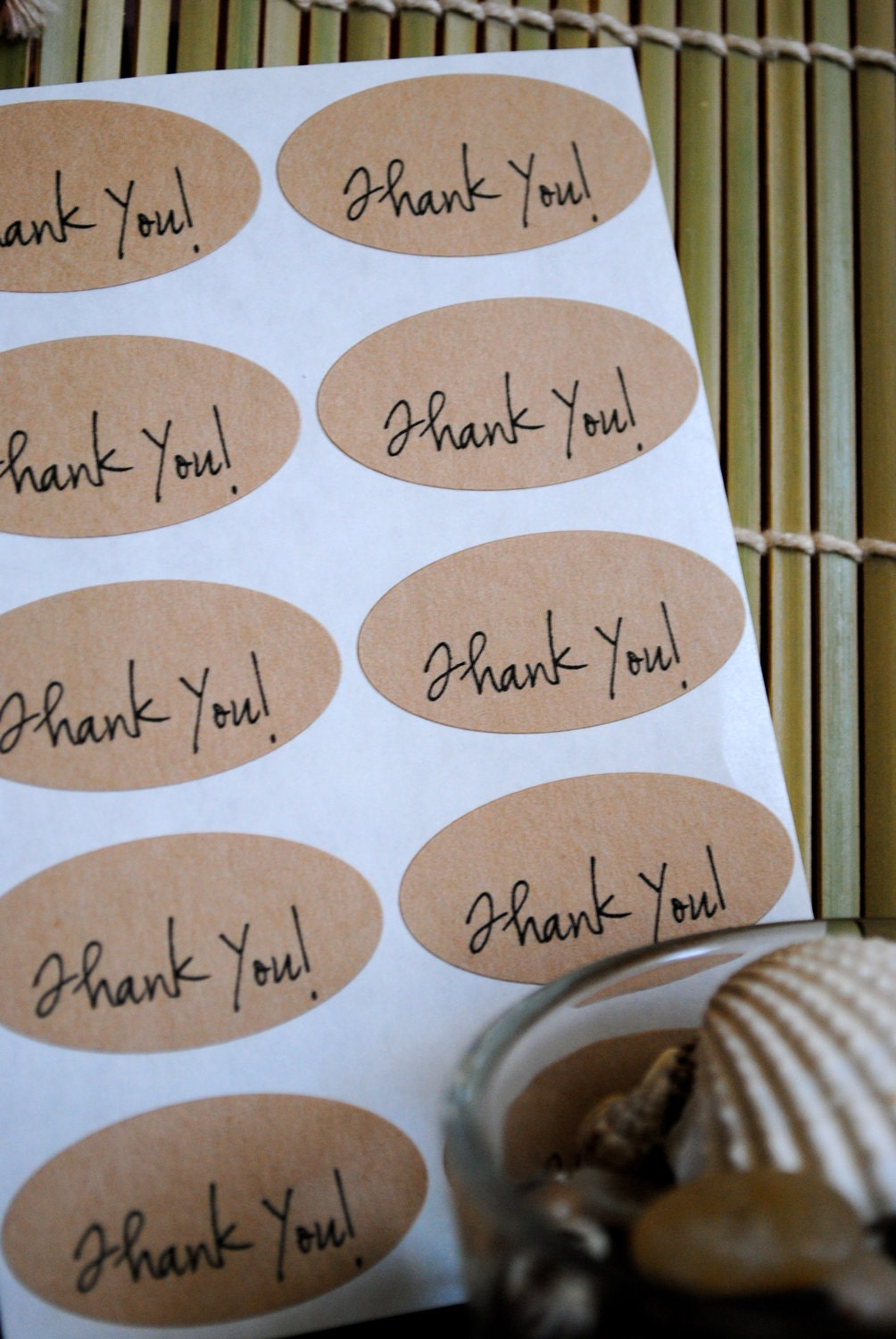 Thank you Kraft Oval labels/seals (20 Seals)