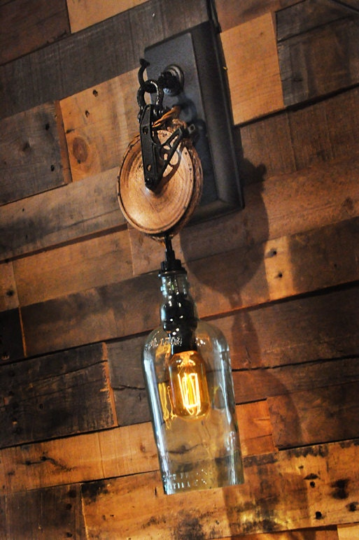 Liquor Bottle Wall Sconce With Pulley By MoonshineLamp On Etsy