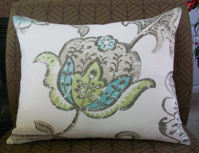 Decorative Designer Lumbar pillow cover - 16X20 - Nina Campbell for Osbourne and Little - Kew Green