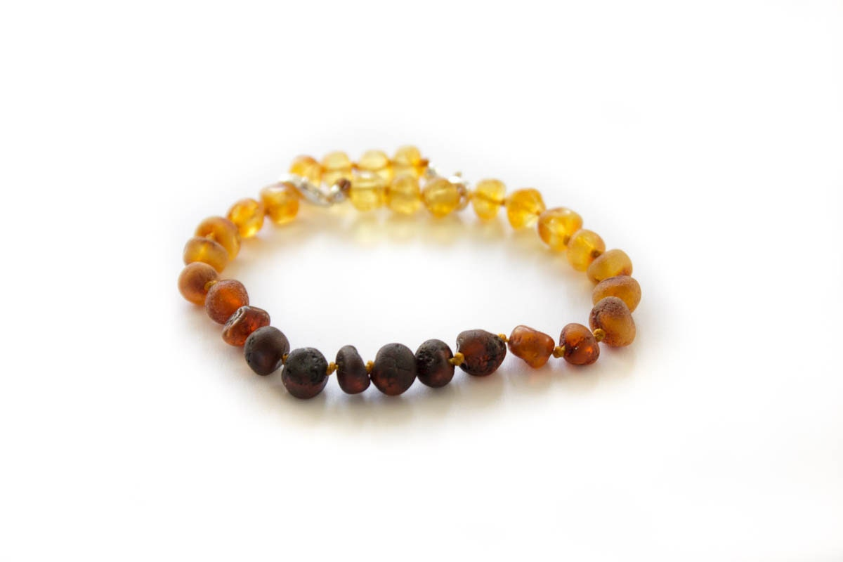 Adults Baltic Amber Bracelet Adjustable Size Natural Raw Amber Sterling Silver  SUNSET